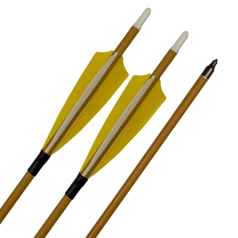 Traditional Feather SP400 Yellow Wood Color Carbon Arrow