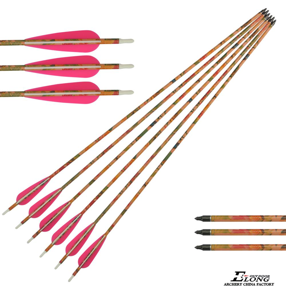 Outdoor hunting traditional pink camo youth carbon fiber arrow